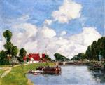 Eugene Boudin  - Bilder Gemälde - The Lock at Saint-Valery-sur-Somme