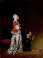 Bild:A Lady and her Maid Chastising a Spaniel