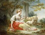 Jean Honore Fragonard - Bilder Gemälde - A Shepherdess Seated with Sheep and a Basket of Flowers Near a Ruin in a Wooded Landscape
