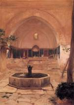 Lord Frederic Leighton - paintings - Courtyard of a Mosque at Broussa