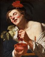 Gerrit van Honthorst - Bilder Gemälde - A Bacchic Young Man Squeezing Grapes into a Cup