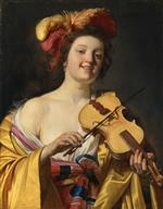 Gerrit van Honthorst - Bilder Gemälde - A Woman Playing the Violin