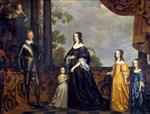 Gerrit van Honthorst - Bilder Gemälde - Frederick Hendrick, Prince of Orange, with his Wife Amalia van Solms and their Three Daughters