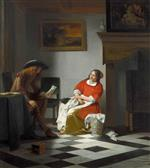 Pieter de Hooch - Bilder Gemälde - A Gentleman Reading a Letter to his Wife