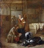 Pieter de Hooch - Bilder Gemälde - A Man with Dead Birds, and Other Figures, in a Stable