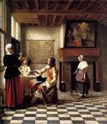 Pieter de Hooch - Bilder Gemälde - A Woman Drinking with Two Men