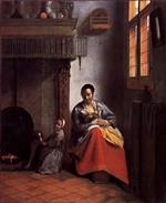 Pieter de Hooch - Bilder Gemälde - A Woman Nursing an Infant with a Child and a Dog