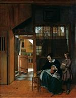 Pieter de Hooch - Bilder Gemälde - A Woman Preparing Bread and Butter for a Boy