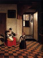 Pieter de Hooch - Bilder Gemälde - A Woman with a Baby in Her Lap, and a Small Child