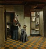 Pieter de Hooch - Bilder Gemälde - A Woman with a Child in a Pantry