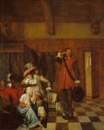 Pieter de Hooch - Bilder Gemälde - Bringer of Bad News