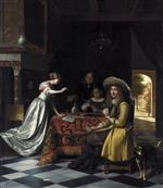 Pieter de Hooch - Bilder Gemälde - Card Players at a Table