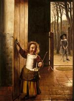 Pieter de Hooch - Bilder Gemälde - Children in a Doorway with Golf Sticks