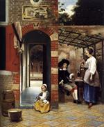 Pieter de Hooch - Bilder Gemälde - Drinkers in the Bower