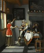 Pieter de Hooch - Bilder Gemälde - Interior with a Child Feeding a Parrot