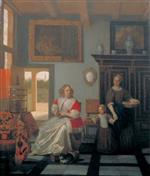 Pieter de Hooch - Bilder Gemälde - Interior with a Woman Knitting, a Serving Woman and a Child