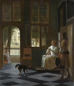 Pieter de Hooch - Bilder Gemälde - Man Handing a Letter to a Woman in the Entrance Hall of a House