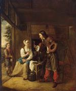 Pieter de Hooch - Bilder Gemälde - Man Offering a Glass of Wine to a Woman