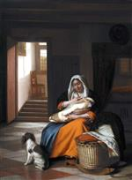 Pieter de Hooch - Bilder Gemälde - Mother Nursing Her Child