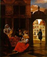 Pieter de Hooch  - Bilder Gemälde - Musical Party in a Courtyard