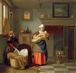 Pieter de Hooch  - Bilder Gemälde - Nursemaid with baby in an interior and a young girl preparing the cradle