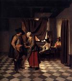 Pieter de Hooch  - Bilder Gemälde - Paying the Hostess-2