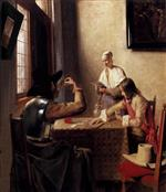 Pieter de Hooch  - Bilder Gemälde - Soldiers Playing Cards