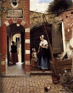 Pieter de Hooch  - Bilder Gemälde - The Courtyard of a House in Delft