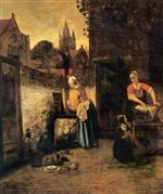 Pieter de Hooch  - Bilder Gemälde - Two women with a child in the yard