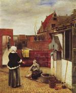Pieter de Hooch  - Bilder Gemälde - Woman and Maid in a Courtyard
