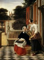 Pieter de Hooch  - Bilder Gemälde - Woman and Maidservant with a Pail