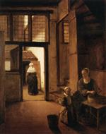 Pieter de Hooch  - Bilder Gemälde - Woman Peeling Vegetables in the Back Room of a Dutch House
