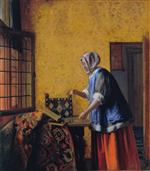 Pieter de Hooch  - Bilder Gemälde - Woman weighing gold coin