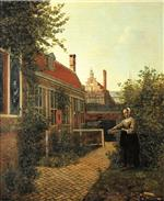 Pieter de Hooch  - Bilder Gemälde - Woman with a basket of beans in vegetable garden