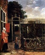 Pieter de Hooch  - Bilder Gemälde - Woman with a Child Blowing Bubbles in a Garden