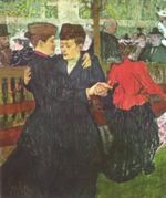 Henri de Toulouse Lautrec - paintings - At the Moulin Rouge, the Two Waltzers