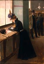 Jean Beraud - Bilder Gemälde - At the Telegraph