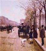 Jean Beraud - Bilder Gemälde - Carriages On The Champs-Élysées