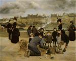 Jean Beraud - Bilder Gemälde - Children With a Toy Seller on the Quai du Louvre