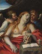 Annibale Carracci - Bilder Gemälde - Mary Magdalene and Two Angels