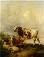 Thomas Sidney Cooper - Bilder Gemälde - A Bull and Cow with Two Sheep and Goat Painting