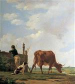 Thomas Sidney Cooper - Bilder Gemälde - A Peasant Boy with a Cow and a Dog
