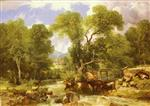 Thomas Sidney Cooper - Bilder Gemälde - A Wooded Ford
