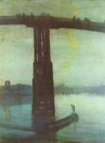 James Abbott McNeill Whistler - paintings - Nocturne (Blue and Gold - Battersea Bridge)