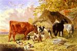 John Frederick Herring  - Bilder Gemälde - Horses Cows Ducks and a Goat By a Farmhouse