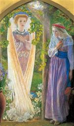 Arthur Hughes  - Bilder Gemälde - The Annunciation