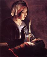 Georges de La Tour - Bilder Gemälde - Saint Anne with the Christ Child