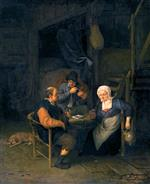 Adriaen van Ostade - Bilder Gemälde - An Interior with Two Boors and a Woman Conversing, Smoking and Drinking at a Table