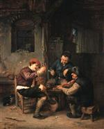 Adriaen van Ostade  - Bilder Gemälde - Three Peasants at an Inn