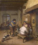 Adriaen van Ostade  - Bilder Gemälde - Three Peasants in a Tavern, round a Fire